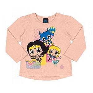 Camiseta Infantil Feminina Manga Longa DC - Supergirls Rosa