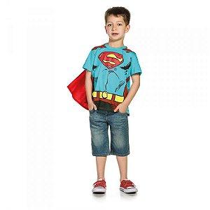Camiseta Infantil Manga Curta DC - Superman com Capa