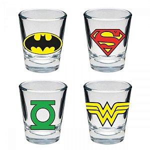 Copos de Vidro Dose Logo dos Heróis DC Comics (set c/ 4)