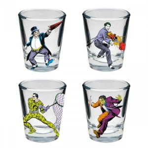 Copos de Vidro Dose Vilões DC Comics (Set c/ 4)