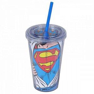 Copo Plástico com Tampa e Canudo DC - Superman