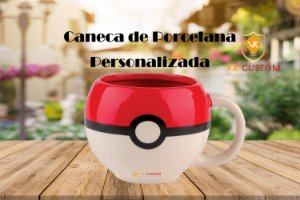 Caneca de Porcelana 3d Pokebola Pokemon