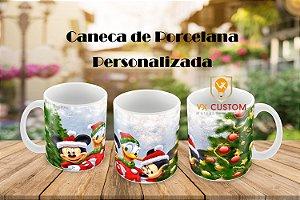 Caneca Personalizada Mickey e Minnie e Pato Donalds Natal