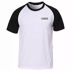 Camiseta Raglan 100% Poliéster manga preta meio branco