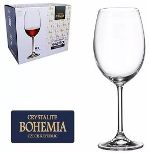 Taças Vinho  Bohemia Gastro Cristal c/ Titânio  580 ml + Brinde Saca Rolha - Cx com 6 pç