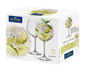 Kit com 2 Taças Gin Bohemia Royal Crystal Para Gin 620ml
