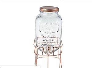 Suqueira de vidro com suporte renne em cobre 4 litros