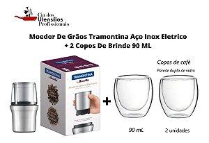 Kit Moedor De Grãos Tramontina Aço Inox Eletrico+ 2 Copos Brinde