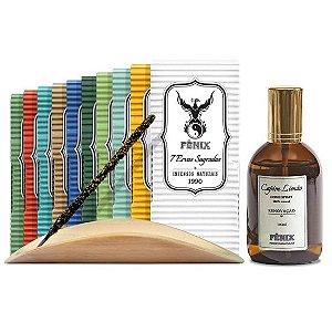 Kit Incensos Naturais c/ 10 caixas + Incensário + Home Spray Capim Limão