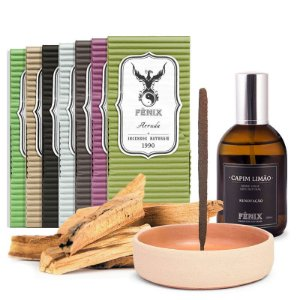 Kit Pai Herói: 7 incensos + Home Spray de Capim Limão + Incensário Tiê + Palo Santo in Natura