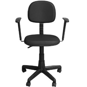 Cadeira Escritório Secretária com Braço Preta Giratória com Regulagem de Altura - Pethiflex