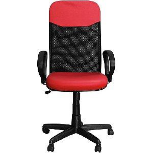 Cadeira Escritório Presidente Vermelha Giratória com Regulagem de Altura - Pethiflex