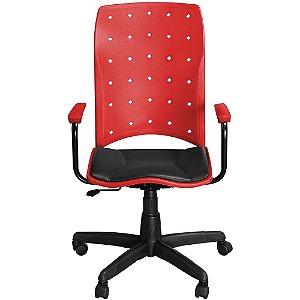 Cadeira Iso Presidente Vermelha Giratória com Braços e Sistema Relax - Pethiflex