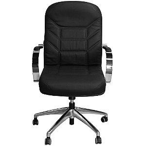 Cadeira Magnífica Diretor Preta Giratória Base Cromada - Pethiflex