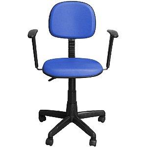 Cadeira Escritório Secretária com Braço Azul Giratória com Regulagem de Altura - Pethiflex
