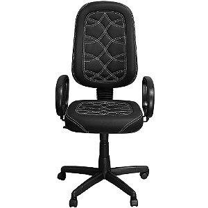 Cadeira de Escritório Presidente Preta com Costura Branca - Pethiflex