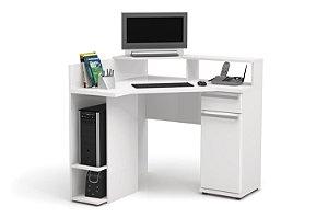 Escrivaninha de Canto para Computador S975 Branco Brilho - Kappesberg