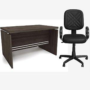 Kit Mesa de Escritório Carvalho 1.20m com Cadeira Diretor Preta