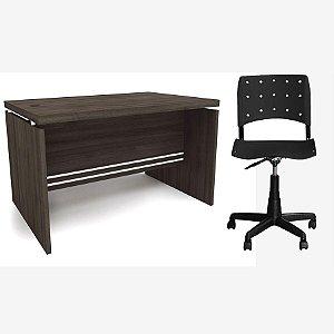 Kit Mesa de Escritório Carvalho 1.20m com Cadeira Iso Preta