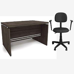 Kit Mesa de Escritório Carvalho 1.20m com Cadeira Secretária Preta com Braços