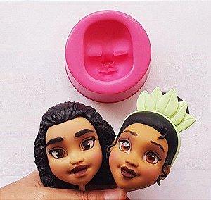 Molde Cabeça Princesas 02 (Moana e Tiana) - Mundo de Massinha
