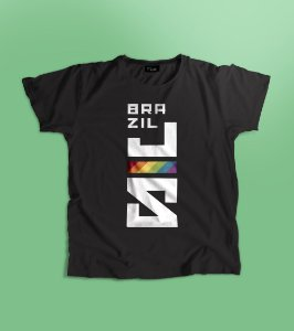 Camiseta BrazilJS logo vertical diversidade pride