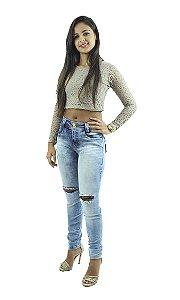 Calça Jeans Feminina Azul Mesclado Rasgada no Joelho Ref.1001