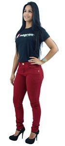 Calça Jeans Feminina Brim Cintura Média Vermelha Ref.1013