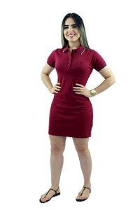 Vestido Malha Gola Polo Vinho Ref. 5008