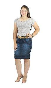 Saia Jeans com Cinto Passantes Laterais Ref.037