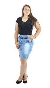 Saia Secretária Jeans Evangélica Azul Claro Ref.041