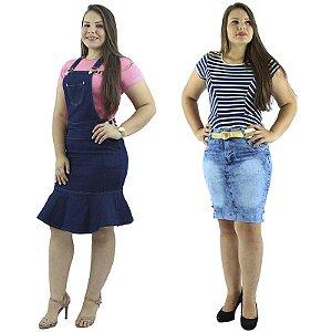 Combo Jardineira Babado Jeans com Saia Secretária Jeans Claro