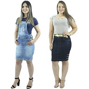 Combo Jardineira Jeans Modelo Tubinho + Saia Secretária Jeans Corrente