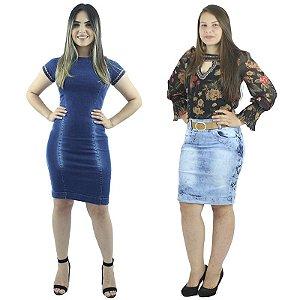 Combo Vestido Jeans Azul com Luzes + Saia Secretária Jeans Detalhe Riata
