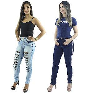 Combo de 2 Calças Jeans Modelos Rasgadinha e Faixa Lateral