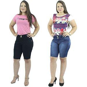 Combo de 2 Bermudas Brim e Jeans Moda Plus Size