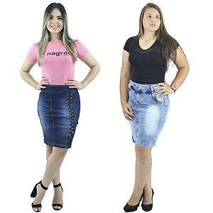 Combo de 2 Saias Secretária Jeans Moda Evangélica
