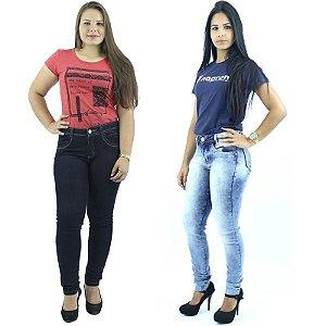 Kit 2 Calças em Jeans Cintura Alta