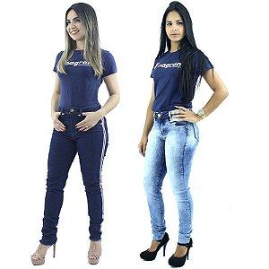 Kit com 2 Calças Jeans detalhe Faixa Lateral