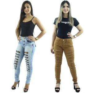 Kit 2 Calças Skinny Moda Rasgadinha