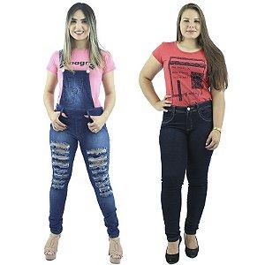 Combo de Macacão Jeans Rasgadinho com Calça Jeans Escuro