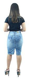 d0949ab406 Saia Jeans Azul Claro Mesclado 4 Botões na Frente Ref.113 zoom