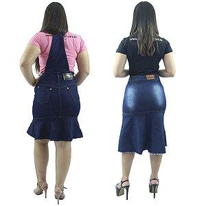 61423b8c16 Kit de Jardineira Jeans de Babado + Saia Longuete Jeans