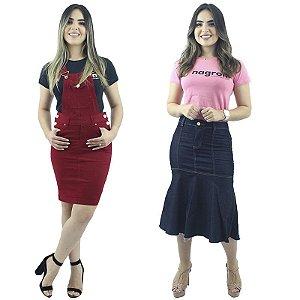 Combo de Jardineira Brim Vermelha + Saia Longuete Jeans
