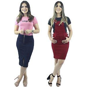 Kit Saia Longuete Jeans Zíper + Jardineira Vermelha Brim