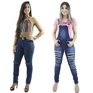 Kit de Calça Jeans Rasgo no Joelho + Macacão Calça Jeans Moda Rasgada