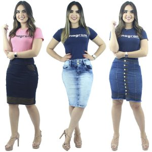 Kit com 3 Saias Executivas Jeans Anagrom