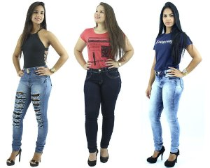 Combo Promocional de 3 Calças Jeans Skinny