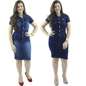 Kit com 2 Vestidos Jeans Tubinho Moda Evangélica