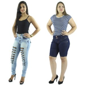 Kit de Calça Jeans Rasgadinha + Bermuda Jeans Moda Ciclista